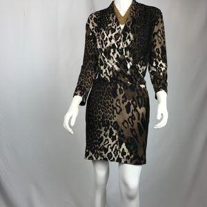 Chico's Leopard Drape Front Mini Dress Size 2 (M)